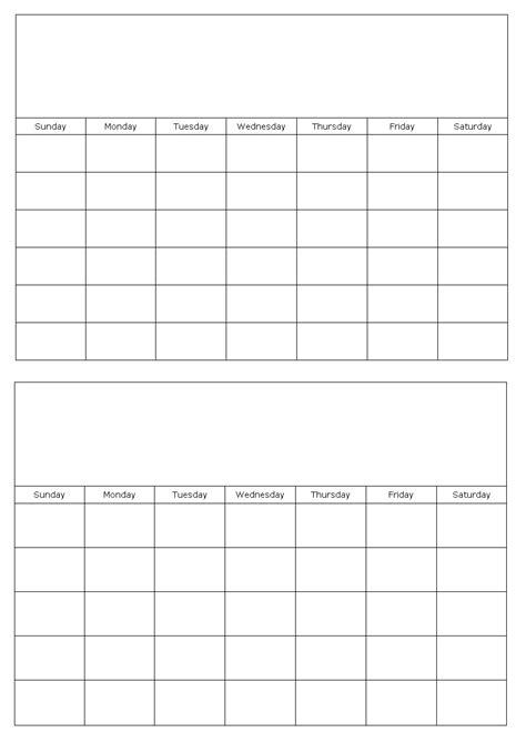 months page blank calendar template