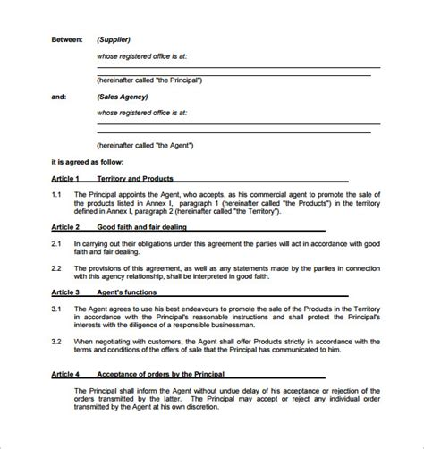 Agency Agreement Letter Format Agency Contract Template 9 Free Documents In Pdf Word