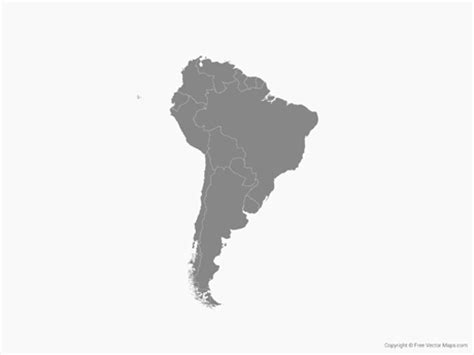 america map free vector vector map of south america with countries single color