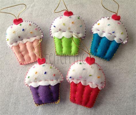 Handmade Cupcakes - set of 6 handmade felt cupcake ornaments by felterrific