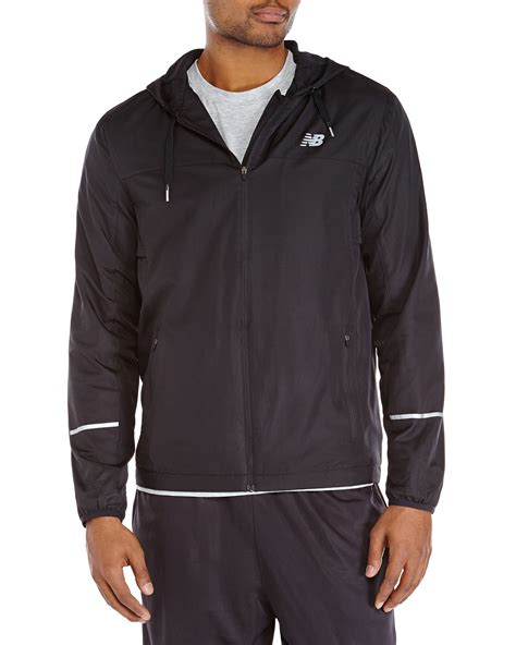 New Balance Jacket new balance hooded windbreaker jacket in black for lyst