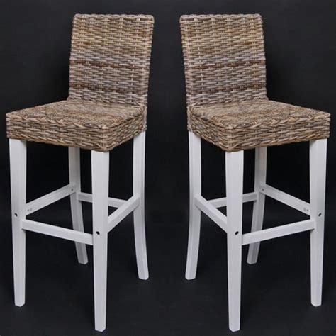 chaise de bar en osier lot de 2 tabourets de bar en rotin kubu avec pi achat