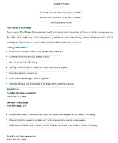 Real Estate Assistant Resume by Sle Real Estate Resume 9 Exles In Word Pdf
