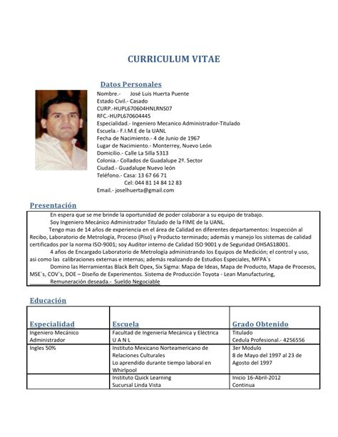 Modelo Curriculum Ingeniero Mecanico Curriculum Vitae Curriculum Vitae Ingeniero