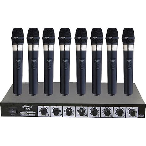 Rack Mount Wireless Microphone System by Pyle Pro Pdwm8400 8 Mic Vhf Wireless Rack Mount Pdwm8400 B H