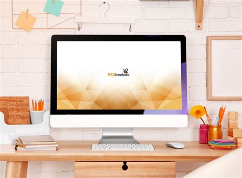 Home Office Desk Imac Imac In Home Office Mockup Mockupworld
