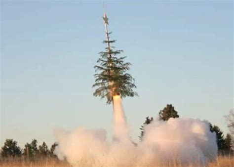 xms missiletoe recycled christmas tree rocket shoots for