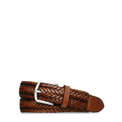 polo ralph braided leather belt in brown for lyst