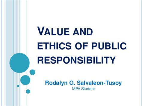 value and ethics of responsibility