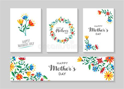 Label Card Template by Happy Mothers Day Card And Label Floral Set Stock Vector
