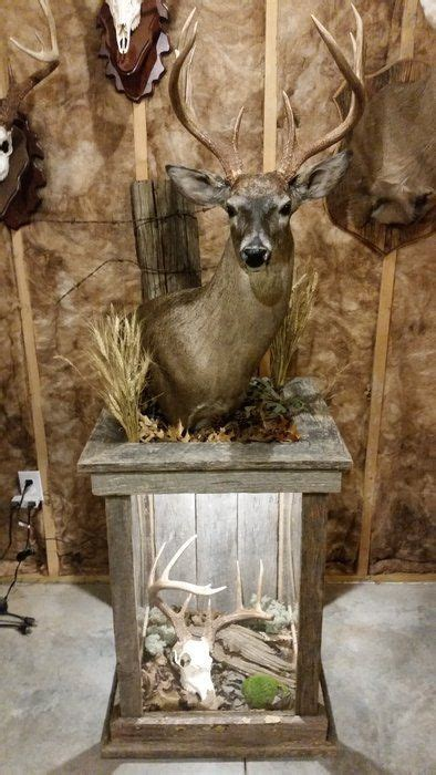 barnwood pedestal  whitetail mount deer hunting decor