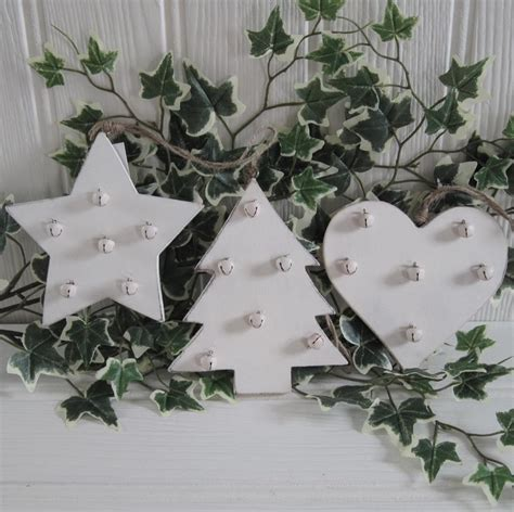 shabby rustic country chic cream wood bells christmas tree shelf decoration ebay