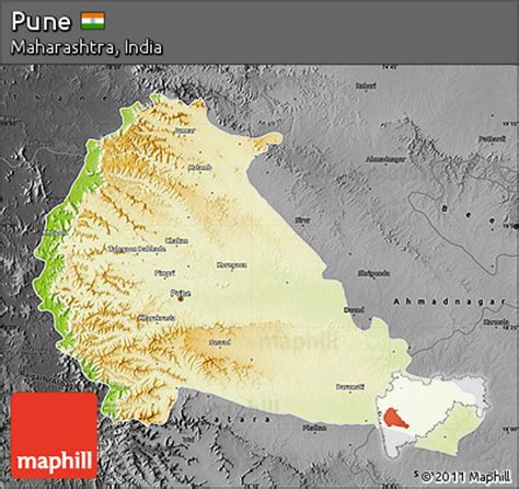 pune geographical map free physical map of pune darken desaturated