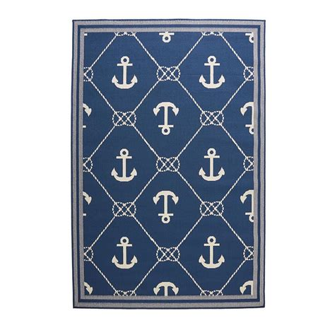 Hton Bay Anchor Blue Cream 7 Ft 7 In X 10 Ft 10 In Hton Bay Outdoor Rugs