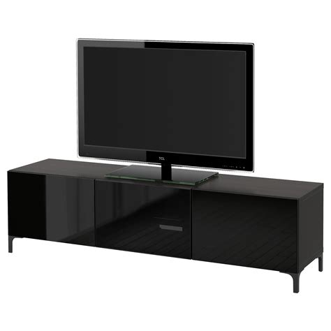 glass tv bench best 197 tv bench with drawers and door black brown selsviken
