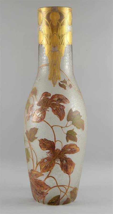 Big Glass Vase Decoration Large Glass Vase With Nouveau Decoration Relief Cut Top