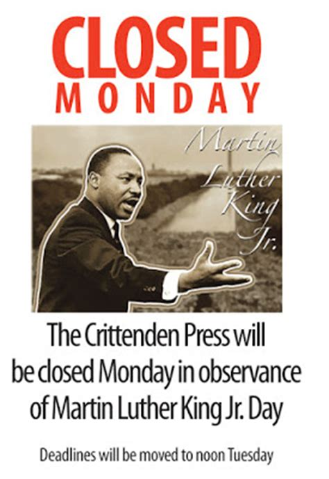 Is The Post Office Closed On Martin Luther King Day by The Press Press Closed For