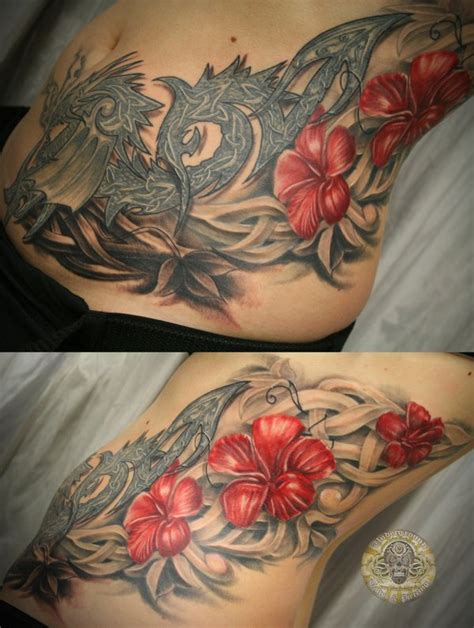 tattoo dragon and flower celtic dragon flowers tat by 2face tattoo on deviantart