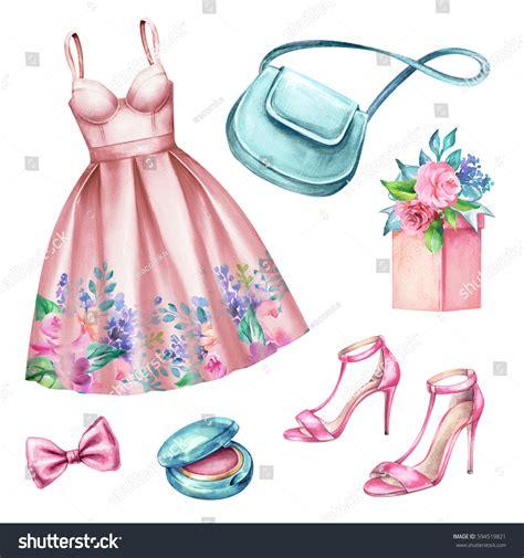 fashion illustration accessories watercolor wedding fashion illustration festive accessories stock illustration 594519821