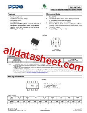 diodes incorporated bcd bas16htwq 13 datasheet pdf diodes incorporated