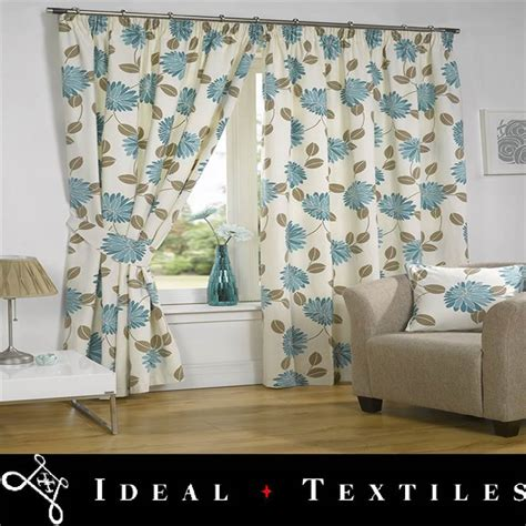 Teal Floral Curtains Teal Blue Lined Curtains Floral Top Pencil Pleat Avonfield Ebay