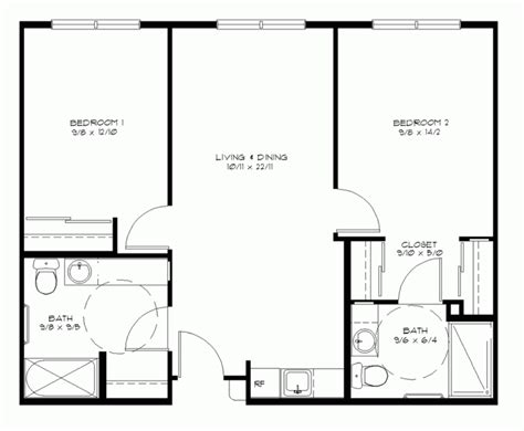 two bedroom two bath floor plans house plans 2 bedrooms pdf