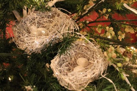 how to make a birds nest for xmas tree white glittered twig bird nest ornament www exclusivelychristmas