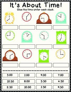 clock worksheets cut and paste it s about time cut and paste free time common cores