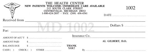 Chiropractic Receipt Template by Superior Receipt Book Company Printing Services