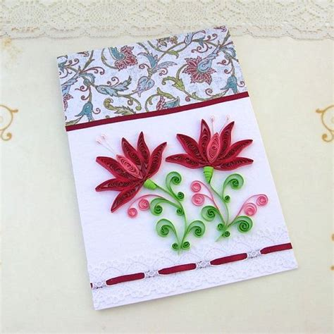 Greeting Card Using Quilling Paper - paper quilling greeting card quilled crimson snowdrop