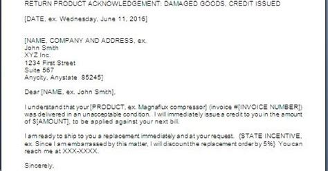 Complaint Letter Replacement Product product replacement letter to customer