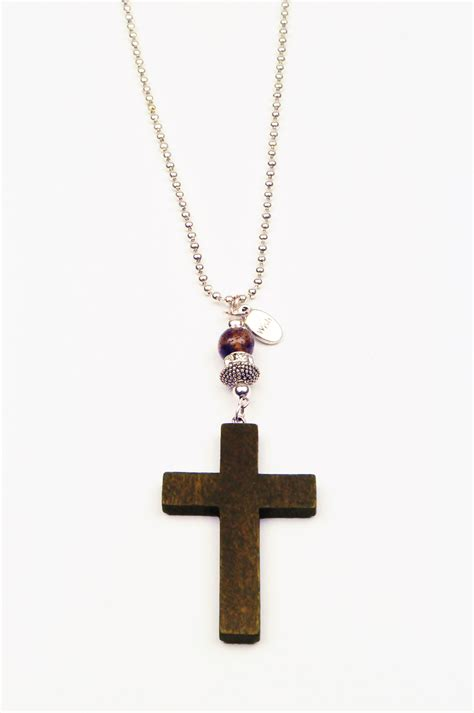 Handmade Cross Necklaces - brown cross necklace wish handmade jewellery