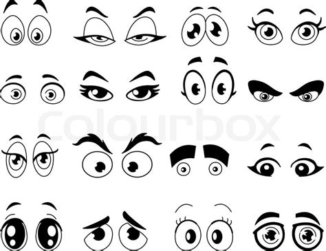 design your own home com outlined cartoon eyes set stock vector colourbox