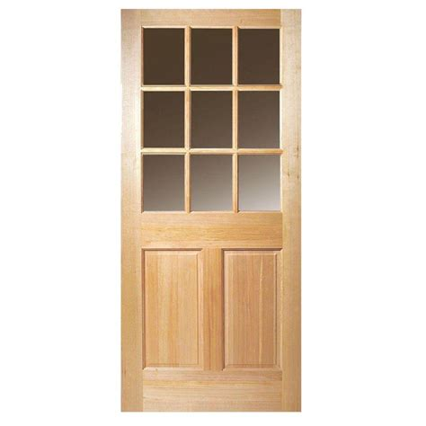 Wood Entry Doors With Glass Steves Sons 36 In X 80 In 9 Lite Clear Glass Unfinished Fir Wood Front Door Slab Fir9lc3680