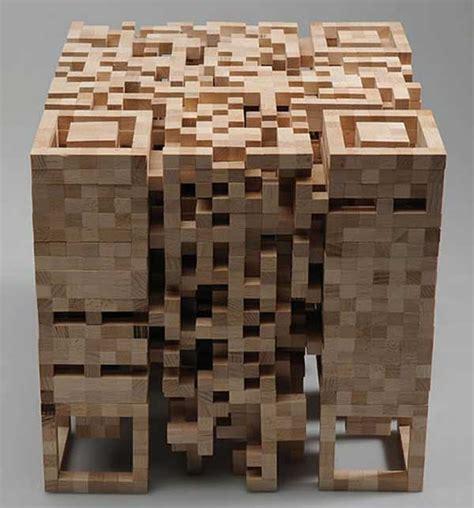 layout artist 3d qr code sculpture made of blocks of wood freshome com
