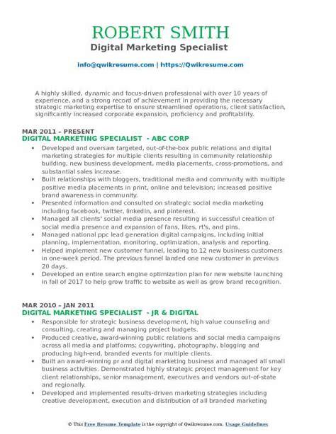 digital marketing resume exles digital marketing specialist resume sles qwikresume