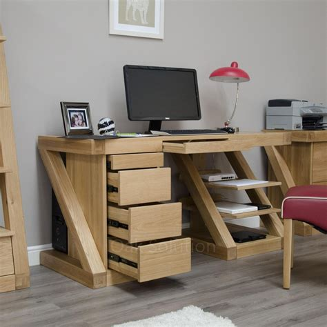 Solid Oak Home Office Furniture Z Solid Oak Designer Furniture Large Office Pc Computer Desk