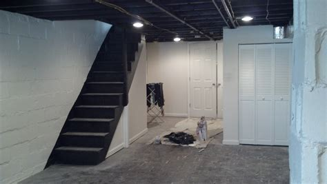 Makeover Basement Painted With White Wall Interior Color