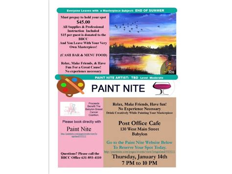 paint nite new york coupon paint nite fundraiser supporting the babylon breast cancer