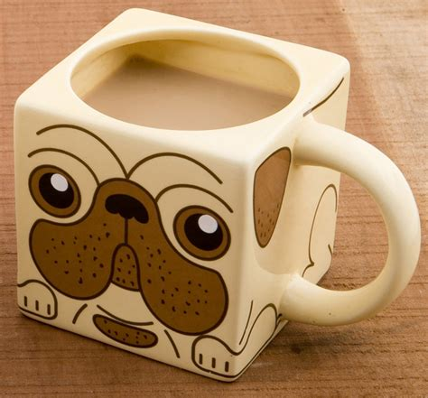 pug mugs book square shaped pug mug
