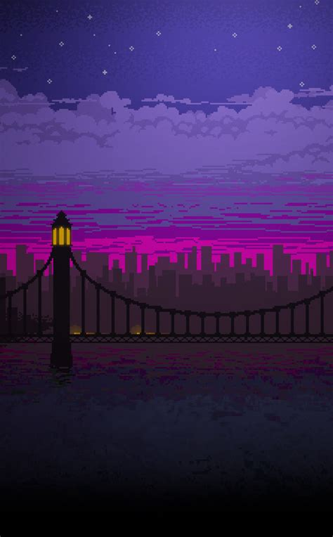 pixel art bridge night full hd wallpaper