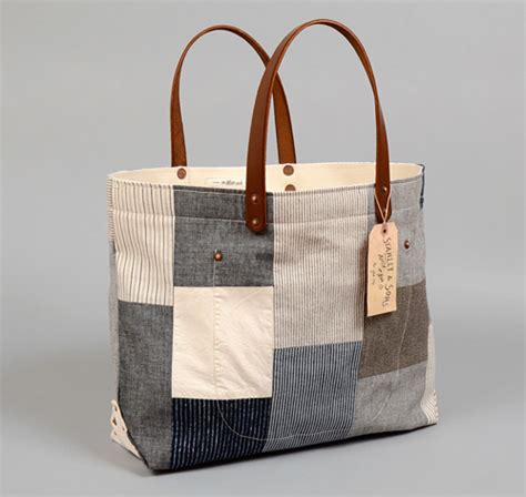Patchwork Tote Bag - th s co tote bag with leather handles patchwork 5