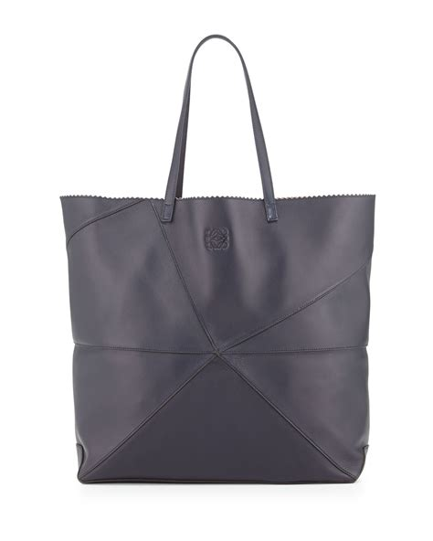 loewe lia origami leather tote bag in blue navy lyst
