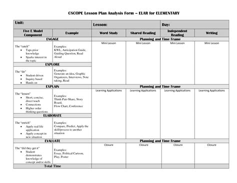 lesson plan template elementary 13 best images of elementary lesson plan form template