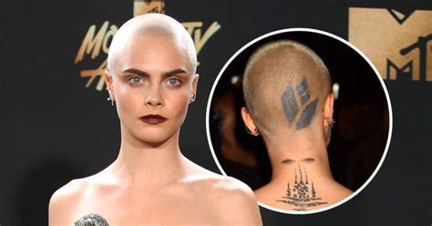 cara tattoo cara delevingne s new debuted at mtv and
