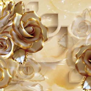 3d Golden Rose Modern Wallpaper Embossed Mural Rolls Art