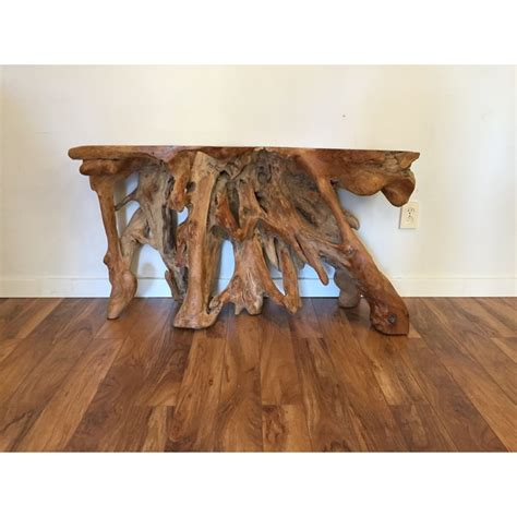burl wood console table burl wood root console table chairish