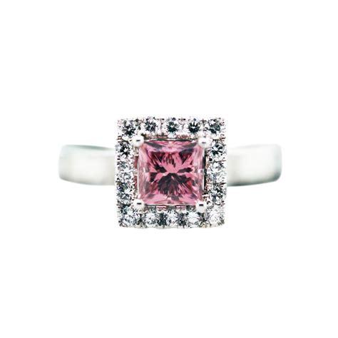 1 carat princess cut pink ring 18k white gold with gls