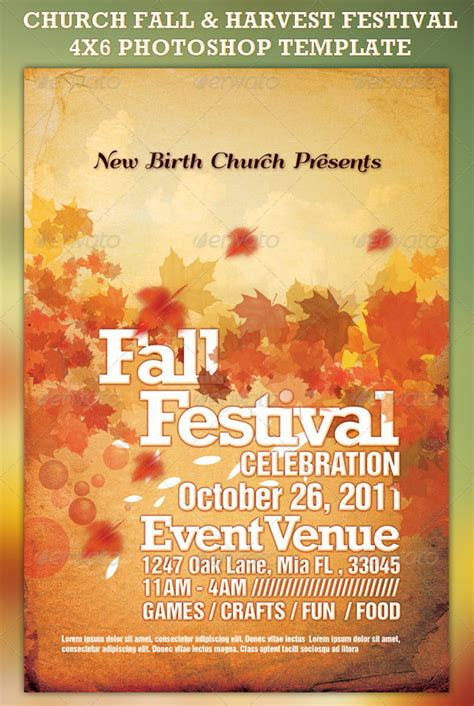templates for church posters church fall and harvest festival template pinteres