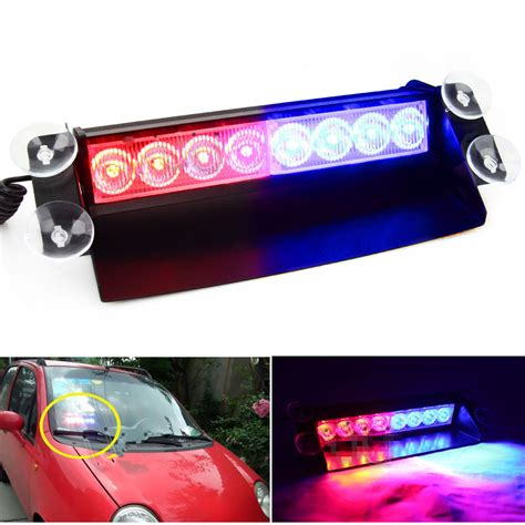 police strobe lights for motorcycles new car 8 led red blue police strobe flash light dash